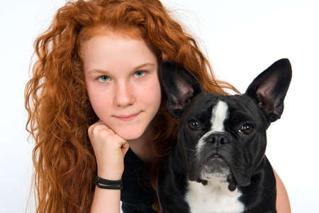 shrewd: red-haired girl with french bulldog
