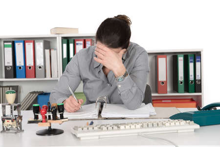 clerical: businesswoman is reflacting Stock Photo