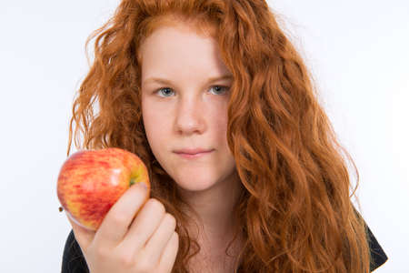 red haired: red haired girl with apple