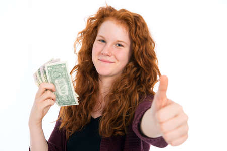 schein: girl with dollars and thumb up