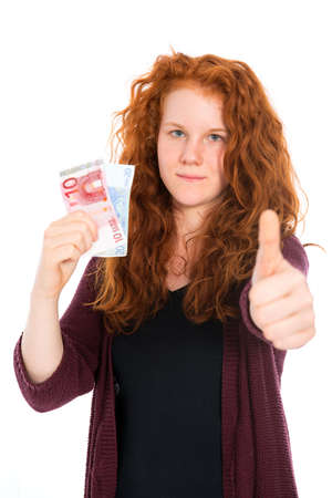 schein: girl with euros and thumb up