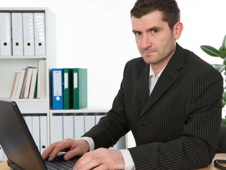 contributor: businessman is working with the computer Stock Photo