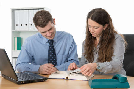 clerical: good teamwork in the office Stock Photo