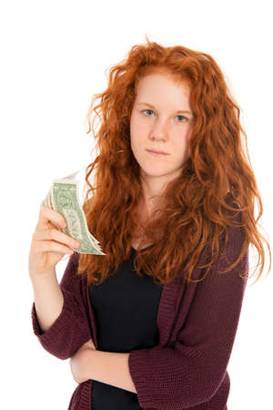 schein: red haired girl with dollars