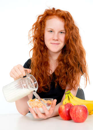 red haired girl: red haired girl has a good breakfast
