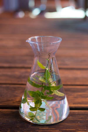 carafe with water and mint-leafs on wooden ground photo