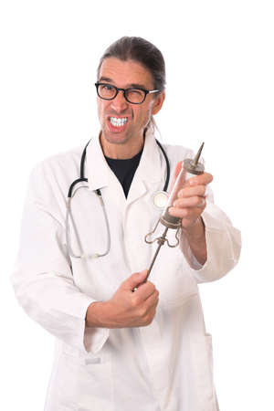 angst: crazy doctor with a big injection Stock Photo