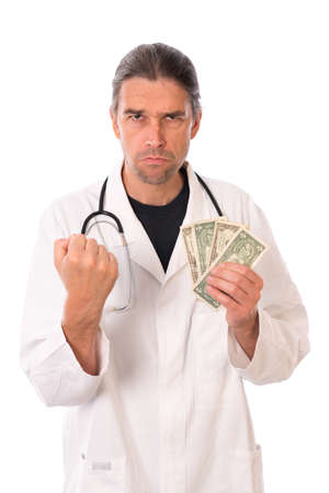 doctor money: angry doctor with money