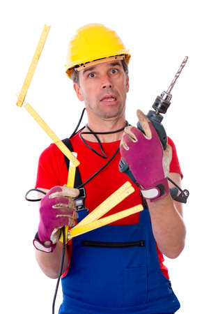 worker with different tools is over-worked photo