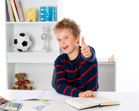 learning boy with thumb up