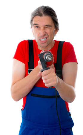 drilling machine: funny man with drilling machine Stock Photo