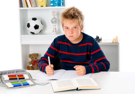 not to be in the mood for homework Stock Photo