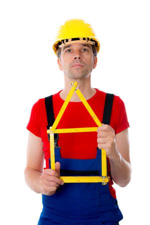 yardstick: worker with folding yardstick- house