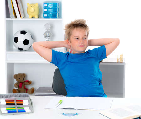outwork: boy finished his homework Stock Photo