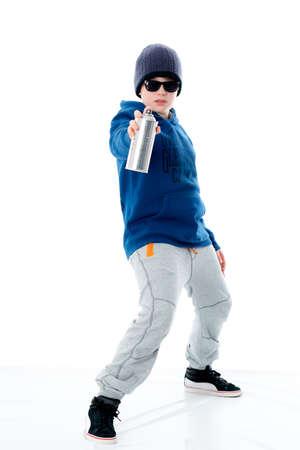 cool boy: cool boy with aerosol can