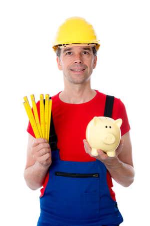 yardstick: worker with yardstick and piggy bank
