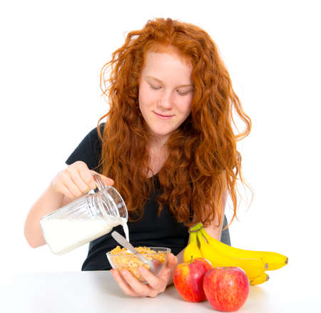 red haired: red haired girl has a good breakfast