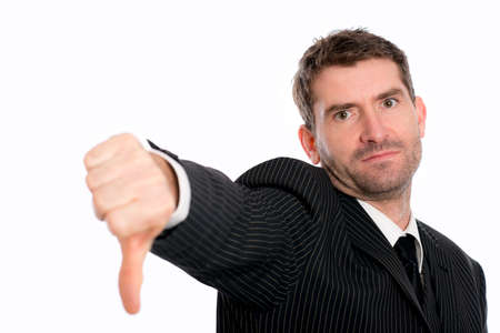 smashup: businessman in front of white background with thumb down