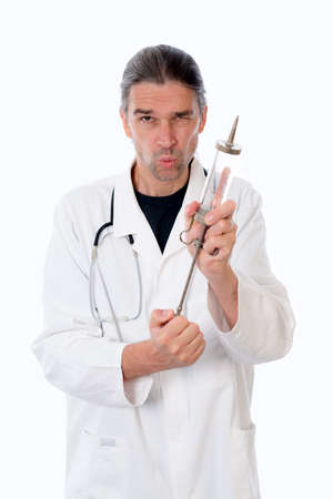 funny doctor: funny doctor with a big injection in white lab coat