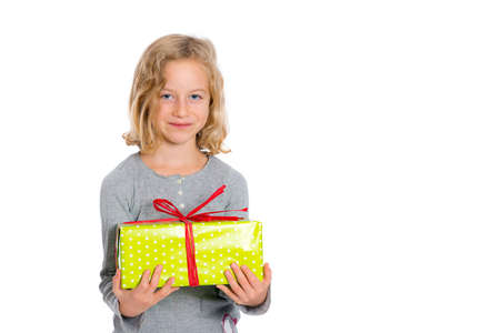 nice smiling blond girl with green present
