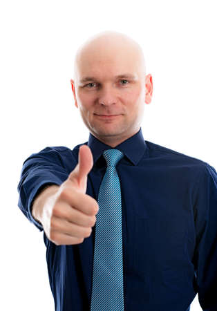 skinhead: businessman in front of white background with thumb up