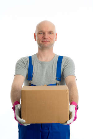 skinhead: young man with bald head and cardboard in front of white background Stock Photo