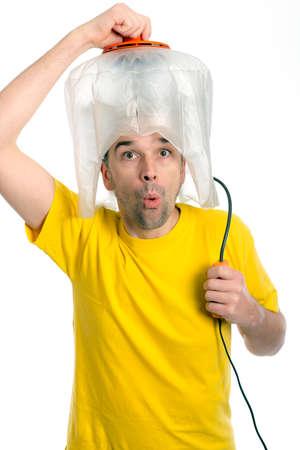 secador de pelo: loco hombre hombre blanco con secador de pelo