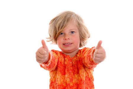 jubilating: little girl with thumbs up in front of white background