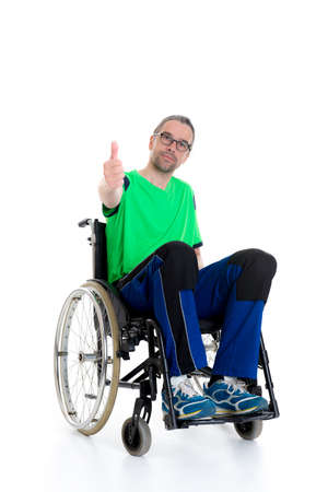 young man in a wheelchair in front of white background 版權商用圖片 - 41386087