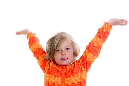 perky: little nice girl in front of white background with arms in the air Stock Photo