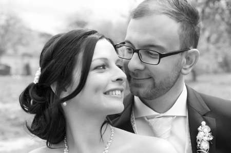 bridal couple: young bridal couple together in black and white Stock Photo