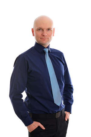 bald head: young businessman with bald head in front of white background