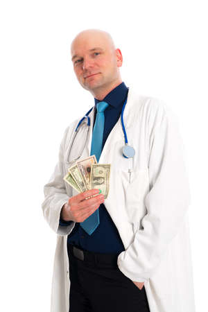doctor money: friendly young doctor with money in white lab coat