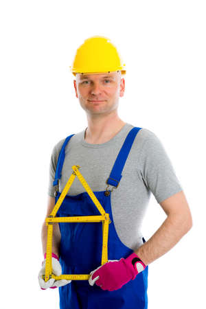 yardstick: worker with yardstick- house in front of white background