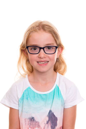 bonny: nice girl with blond hair, glasses and colorfull shirt