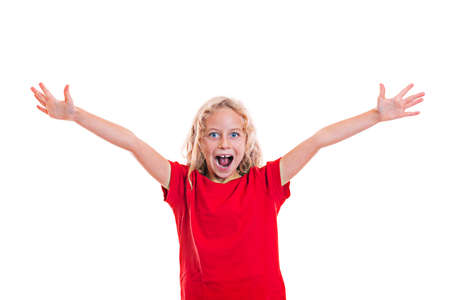 jubilate: happy girl with blond hair and red shirt