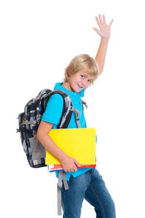 one child: blond boy with satchel and haft in front of white background Stock Photo