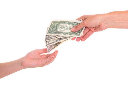 bolsa dinero: niño preservar el dinero de bolsillo delante de fondo blanco - dólares
