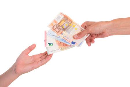 money pocket: ni�o preservar el dinero de bolsillo delante de fondo blanco - d�lares