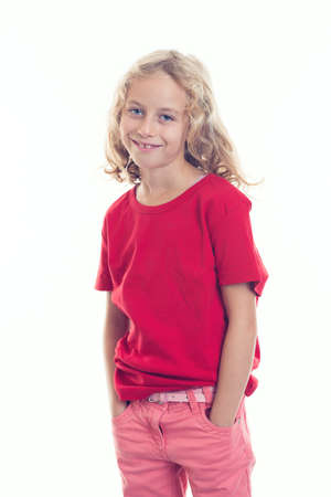 lighthearted: nice girl with blond hair and red shirt looking fiendly Stock Photo