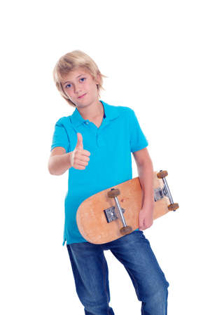 only one teenage boy: boy in blue dress with skateboard and thumb up  in front of white background