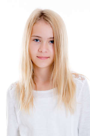 nice blond girl in front of white background looking in to the camera Stockfoto
