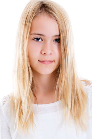 portrait of a nice blond girl in front of white background Foto de archivo