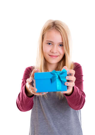 mothersday: portrait of a nice blond girl with blue gift box Stock Photo