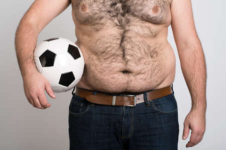 portly: portly belly of a man with black and white football