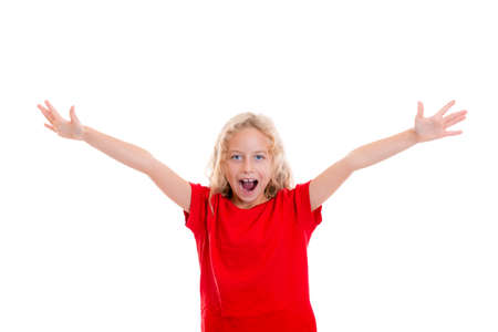 jubilating: happy girl with blond hair and red shirt