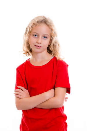 bonny: nice girl with blond hair and red shirt