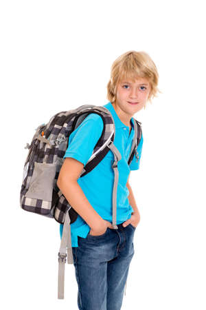satchel: blond boy with satchel in front of white background Stock Photo