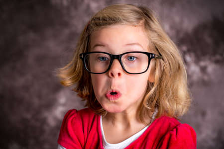 portrait of a funny girl with big glasses Stock Photo