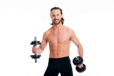 fitnesscenter: young white man with exercised body train with bar-bell Stock Photo